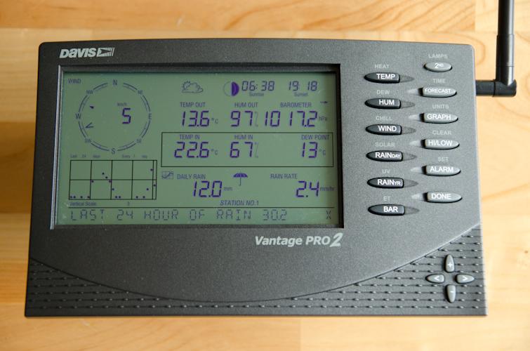 Die Konsole der Davis Wetterstation ist ein Wettercomputer