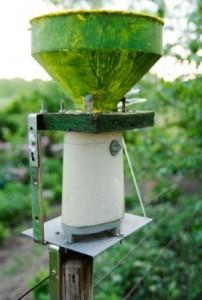 Regensensor-Vergrößerung des Regensensors der Funkwetterstation am optimalen Standort im Garten