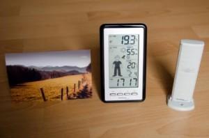 Test der Wetterstation mit Wettermännchen zur Wetterprognose