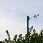 Der Windsensor der Funkwetterstation in 8 Meter Höhe